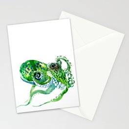 Beach art, green Octopus, sea world, aquatic nautical octopus art Stationery Cards