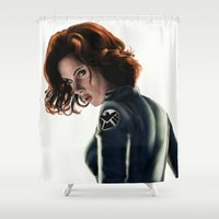 black widow Shower Curtains featuring Black Widow by Christine Tromop