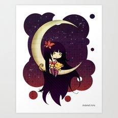Golden Butterfly Moon Art Print