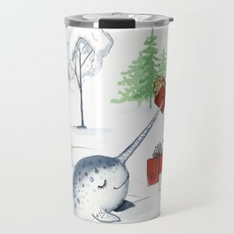 Christmas Narwhal Travel Mug