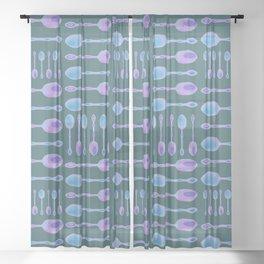 Unique Artsy Spoons! (Dark Teal) Sheer Curtain