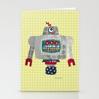 50s Stationery Cards featuring pete 50s retro robot by blossyfloss