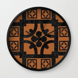 Terracotta English half-timbered Tudor house pattern Wall Clock