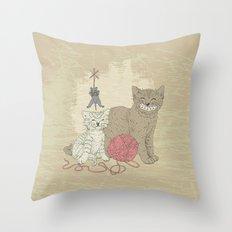 Naughty Cats Throw Pillow