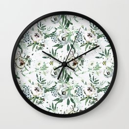 Pastel green pink ivory watercolor hand painted floral pattern Wall Clock