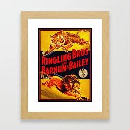 Vintage Circus Poster - Tiger & Lion Framed Art Print
