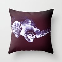 sea turtle Throw Pillows featuring Sea Turtle by DistinctyDesign