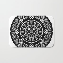 Modern Mandala (Black & White) Bath Mat