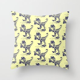 Tipsy Velociraptor with Beer Pattern Throw Pillow