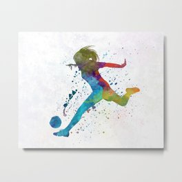 Woman soccer player 01 in watercolor Metal Print