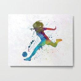 Woman soccer player 01 in watercolor Metal Print