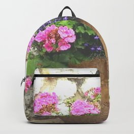 Geraniums in Large Flower Pot Backpack