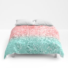 Summer Vibes Glitter #3 #coral #mint #shiny #decor #art #society6 Comforters