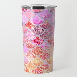 Rosegold & Gold Trendy Glitter Mermaid Scales Travel Mug