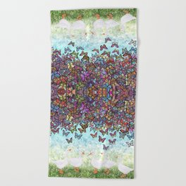 butterfly cascade and white geese Beach Towel