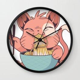 Kawaii Cat Eating Ramen Wall Clock