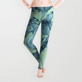 Tropical Leaves and Flowers Luxe Ocean Teal Blue Pastel Green Leggings