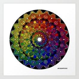 Mandala 46 - Psychedelic Mandala Rainbow series Art Print