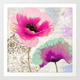 Poppies and Paint II Art Print