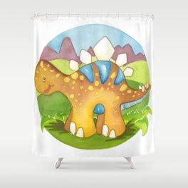 Stegosaurus, by Heidi Nickerson Shower Curtain