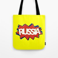 russia Tote Bags featuring Russia by mailboxdisco