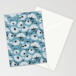 Cotton Flowers on Blue Pattern Stationery Cards