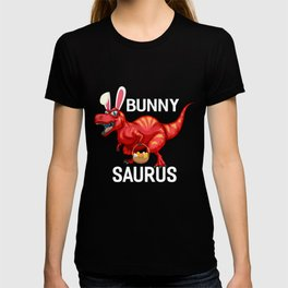Easter Bunny Saurus Colourful T Rex Egg Basket Gift T-shirt