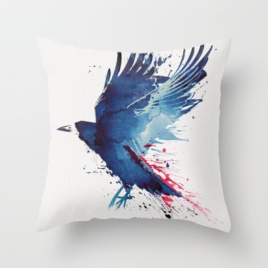 Bloody Crow Throw Pillow