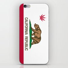 California Republic state flag with red Cannabis leaf iPhone & iPod Skin