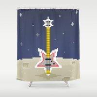 bass Shower Curtains featuring Space Bass by Dean Bottino