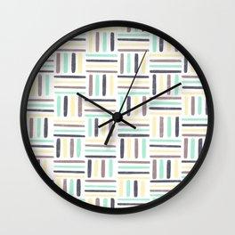 Linear Weave //Basket Weave Design, Pastel colours, green, black, brown, yellow Wall Clock