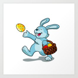 rabbit with Easter basket Art Print