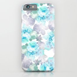 Modern teal gray chic romantic roses flowers iPhone Case