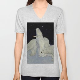 """The Snow Queen"" Fairy Tale Art by Edmund Dulac Unisex V-Neck"