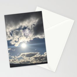 Sun glare in the beautiful cloudy sky Stationery Cards