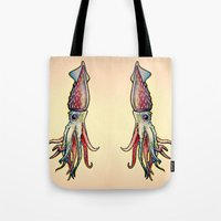 squid Tote Bags featuring Squid by Irene Fratto Due