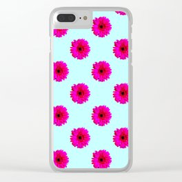 Pixel Art Flower Pattern Clear iPhone Case