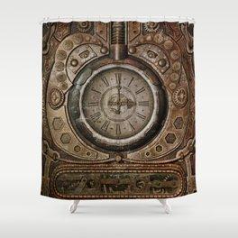 Brown Grunge Vintage Steampunk Clock Shower Curtain