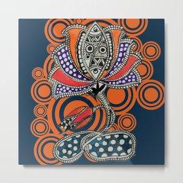 Madhubani - Lotus Fish 2 Metal Print