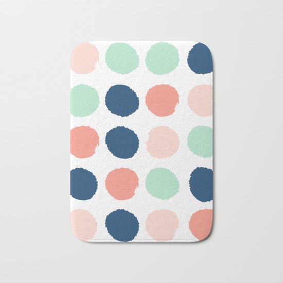 Polka dots abstract dotted pattern brushstrokes paint brush marks abstract trendy colors Bath Mat