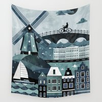 travel poster Wall Tapestries featuring Amsterdam Travel Poster by ClaireIllustrations