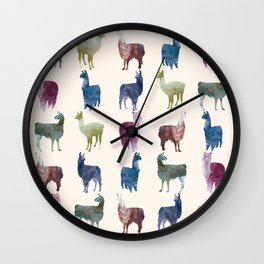 Color LLamas Wall Clock