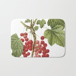 Botanical Print, Red Currant, Ribes Rubrum Bath Mat