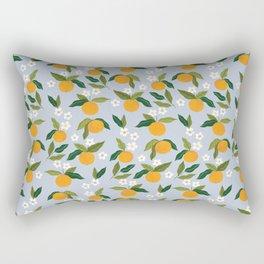 Gouache Oranges Blue Rectangular Pillow