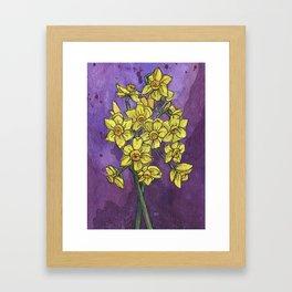 Jonquils - Watercolor and Ink artwork Framed Art Print