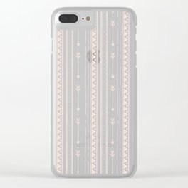 Pastel brown white bohemian arrows zigzag geometrical Clear iPhone Case