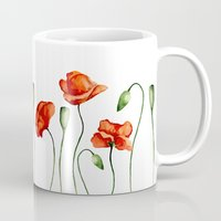 poppies Mugs featuring Poppies by Julia Badeeva