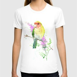 Lovebird and Flower, beautiful floral art T-shirt