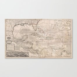 Vintage Map of The Caribbean (1732) 2 Canvas Print