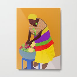 woman and a bowl of fruit  Metal Print